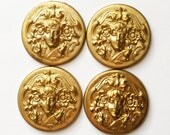 Vintage Floral Lady Stamping, 4 Pieces, Art Nouveau Ladys, Brass, Vintage Patina Brass, Vintage Supplies, B'sue Boutiques, 30mm, Item02570