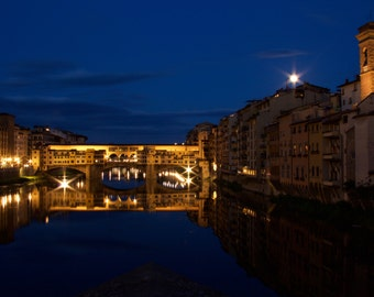 Florence Lover, Firenze at Sunset, Travel Photography, Blue Picture,  Ponte Vecchio, Bridge Photo, Wall Art Italy Picture, Bridge