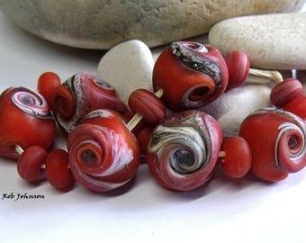 Coral Stones, Lampwork Pebble Beads, SRA, UK