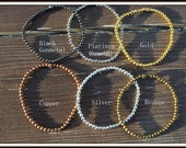 Men's Metal Bead Bracelet, Men's Small Bead Bracelet, Metal Bead Bracelet, Metal Stacking Bracelet, Small Bead Layering Bracelet