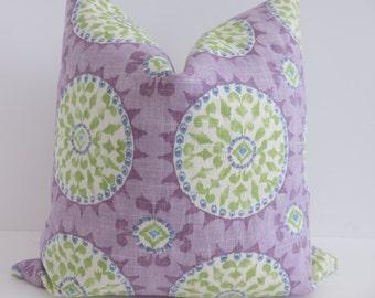 Lavender Zuzani Pillow Cover, Purple Green Pillow Cover, Pillow Cover, Lavender Pillow Cover