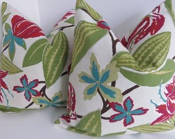Fushia Aqua Green Pillow Covers- Turquoise Ivory background Pillow covers- Pillow covers- Green Pillows- Decorative Pillows