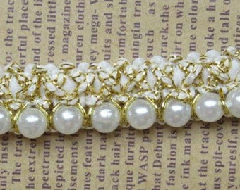 5/8 inch wide Pearl Beaded Lace Trim select 0.5 yard or 1 yard