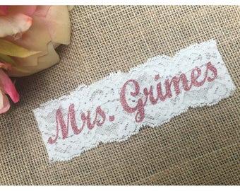 PERSONALIZED ROSEGOLD BLING Bridal Garter / Wedding Garter / lace garter / Something Blue