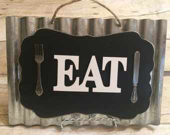 Eat Sign Fork and Knife Sign metal sign Metal eat Sign chalkboard Eat sign Hanging Eat Sign  Eat Sign on Easel