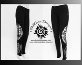 MOONDUST - Womens / Juniors Cut Up, Shredded and Weaved Black Leggings, Festival Wear, Burning Man Wear