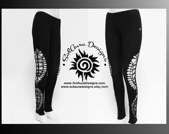 "Womens / Juniors ""MOONDUST"" Cut Up, Shredded and Weaved Black Leggings, Festival Wear, Burning Man Wear - L-3014"