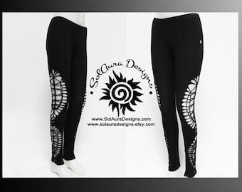 MOONDUST - Womens / Juniors Cut Up, Shredded and Weaved Black Leggings, Festival Wear, Burning Man Wear - L-3014