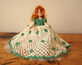 Vintage Doll Vintage Doll With Eyes That Close Sleepy Eye Doll Vintage Crochet Doll Dress St. Patrick's Day Doll from The Eclectic Interior