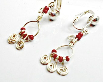 Handmade earrings tiny wirework red chandeliers clip or pierced by Pat2