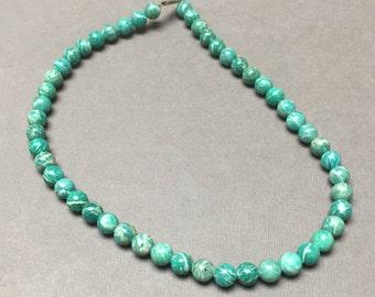 Russian Amazonite Beads. Greenery. Round. Pantone 2017. Gemstone Beads. Jewelry Supplies. 8mm. One Full Strand (1).