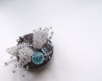 Brooch Beetle - Felt brooch  Beetle - Embroidered Brooch - Hand felted brooch - Wool brooch- Handmade brooch