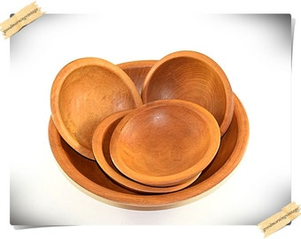 Wooden Out of Round Bowl Set