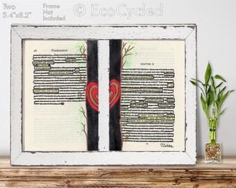 Adored and Loved Frankenstein Smitten Blackout Poetry Word Art Original Artwork Found Poem  clever bookworm gift OOAK Book lovers decor