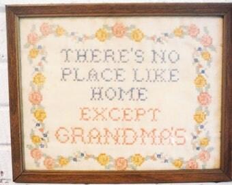 Awesome Grandma stitchery cross stitch needlework ,Grandma's house, best grandma, grandmother gift,hand stitched, vintage