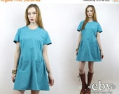 Vintage 70s Turquoise Nurse Dress L XL Scrubs XL Scrubs L Vintage Nurse Dress Nurse Costume Smock Waitress Dress
