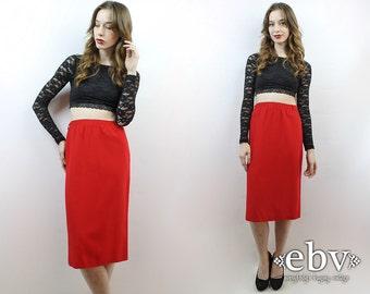 Red Skirt High Waisted Skirt High Waist Skirt Secretary Skirt 1970s Skirt 70s Skirt Work Skirt L XL