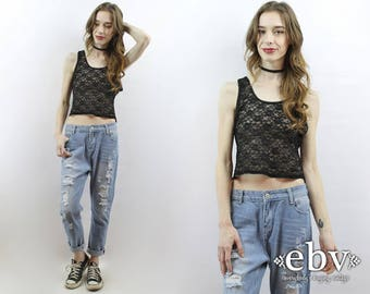 Black Lace Top 90s Grunge Top 90s Crop Top Lace Crop Top 90s Top 90s Cropped Top Sheer Lace Top Black Lace Tank Sheer 90s Top 1990s Top L