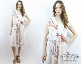 Summer Dress White Dress Purple Lillies Dress 70s Dress 1970s Dress Midi Dress Secretary Dress Beach Dress Romantic Dress Floral Dress L