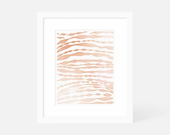 Minimalist Watercolor Art Print / Modern Boho Wall Art / Orange Artwork / 5x7 8x10 11x14 16x20 18x24 / Framed and Matted