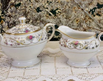 Vintage Sugar Bowl and Creamer Lamberton Dorthea Gold Floral  Cream and Sugar Set Tea Party #12