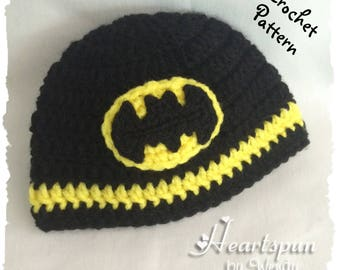 CROCHET PATTERN to make a Batman Hat in 8 sizes, baby to adult, and batman symbol applique in 2 sizes, Pdf Format, Instant Download.