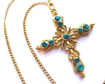 AQUA RHINESTONES Openwork Goldtone Cross, Vintage Goldplated Fleur di Lis Cross, Turquoise Rhinestone Cross, Faux Gemstone Cross Necklace