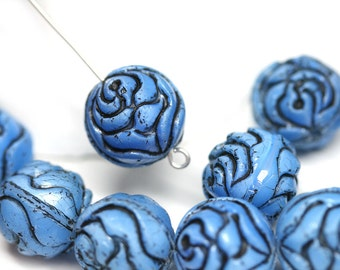 4pc Blue Rose Bud beads, Black inlays rose flower round bead, czech glass double sided design puffy rose - 13mm - 0478