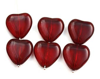 15mm Dark Red Heart beads, Garnet Red czech glass pressed beads, 10Pc - 3022