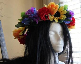 Flower Crown - GAY PRIDE - Festival Headdress - Bridal Headpiece - Floral Crown