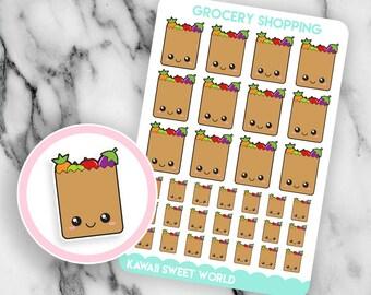Kawaii Grocery Shopping | Planner Sticker Sheet