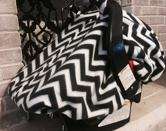 Fleece Baby Car Seat Carrier Canopy Cover Black and White Chevron (fitted), FREE MONOGRAMMING