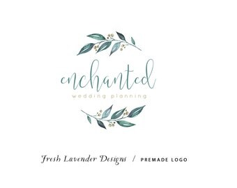 Custom Logo Design Premade Logo and Watermark for Photographers and Small Crafty Businesses Hand Drawn Watercolor Leaves with Berries