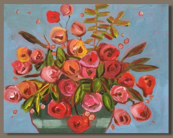semi abstract painting, pink roses, red roses painting, flowers, floral, still life, garden, flowers in vase, small painting