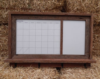 Barnwood Framed Message Center with Magnetic Dry Erase Calendar and Magnetic Dry Erase