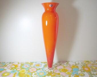 Vintage 1970s MID Century Modern Mouth Blown French Orange Cased France Art Glass Vase