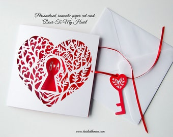 Heart Shaped Valentines Card, Paper cut card, Romantic Card, Door To My Heart, Customisable, With Key