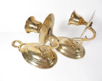 Brass Candle Holders Wall Sconces  - Vintage Pair of Brass Wall Sconce Candle Holders