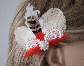 "Pheasant Peacock Feather Fascinator Hair Clip Bridal ""Meryl"" Bridesmaids Bride Flower Girls Cream Orange White Lace Guipure - Or Custom Make"