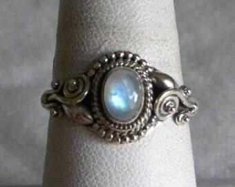 Moonstone Ring Handmade Ring Blue Flash 7x6mm Semiprecious Gemstone Ring Sterling Silver Ring Size 9 Take 20% Off Rainbow Moonstone Jewelry