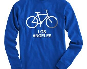 LS Bike Los Angeles Tee - Long Sleeve T-shirt - Men S M L XL 2x 3x 4x - Gift for Men, Los Angeles Cycling Shirt, LA Cycling, Bicycle Shirt