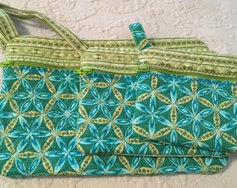 Set of Three Quilted Zippered Pouches