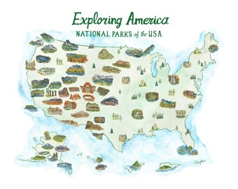 America Parks Map Etsy - National parks in usa map