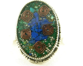 Orgone Energy Oval Brooch/Pendant in Silver Finish with Malachite/Turquoise/Lapis - Old Fashioned Brooch - Orgone Jewelry-Artisan Jewelry
