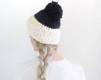 Black & White Knit Beanie Womens Winter Hat With Pom Pom / Chunky Knit Fashion Winter Knitwear Accessory / Knit Pom Beanie Fall Fashion