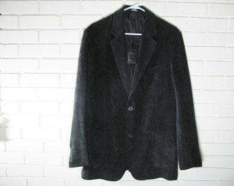 Vtg Light weight black corduroy narrow lapel blazer size 40
