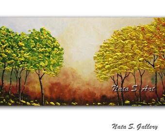 "Fall Tree Painting Original Autumn Tree Painting Palette Knife Impasto Season Painting Home & Office Decor Large Artwork 24"" x 48"" by Nata"