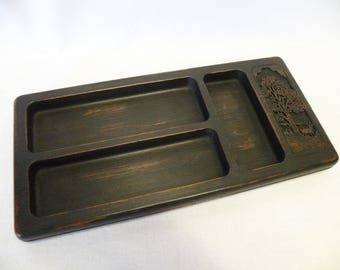 Vintage Upcycled Black Valet - Key or Trinket Tray - Cell Phone Holder - Men's Valet - Shabby Chic, Cottage or Farmhouse
