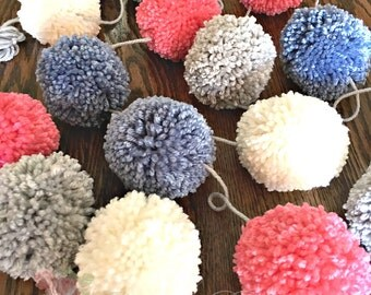 Pom Pom Garland Blue - Gray - Ivory - Coral Yarn - Party Pom Pom Garland - Decoration - Baby - Bridal Shower Garland - Farmhouse Style