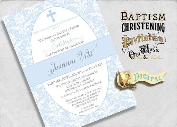 Printable Baby Boy Baptism Invitation Blue and White Damask Elegant Christening Dedication Invite - Custom Digital Baptism 5x7 JPEG or PDF